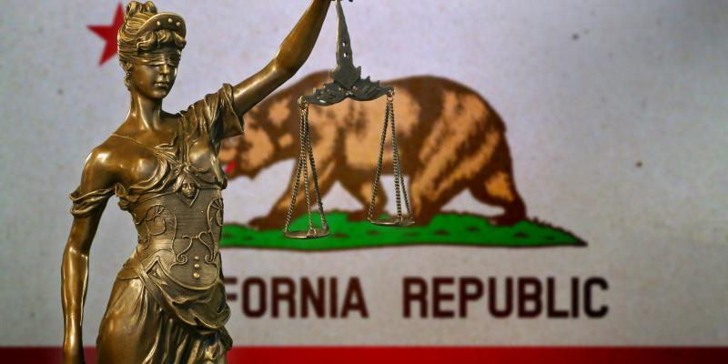 California flag and justice